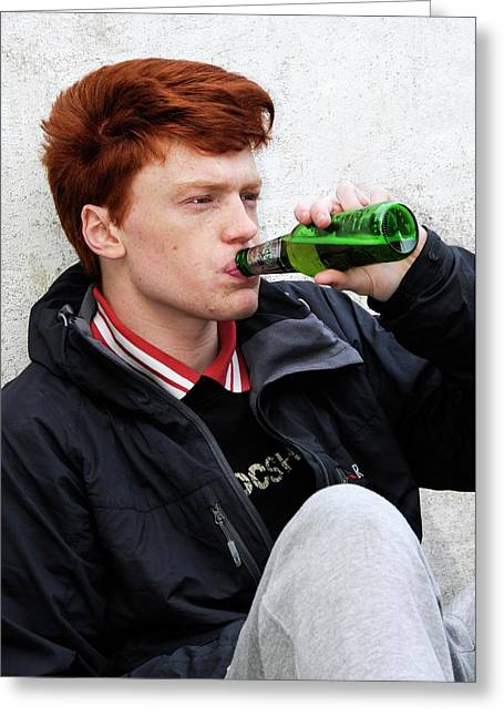 Teenager Drinking Beer Greeting Card by Cordelia Molloy