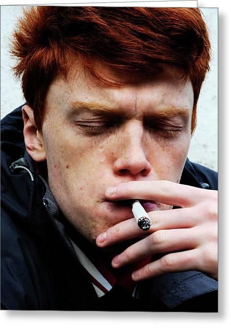 Teenager Smoking Greeting Card by Cordelia Molloy