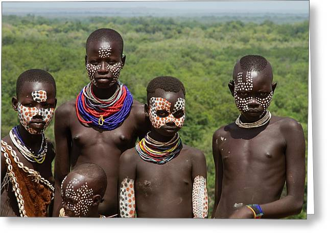 Teens And Children Of The Karo Tribe Greeting Card by Photostock-israel
