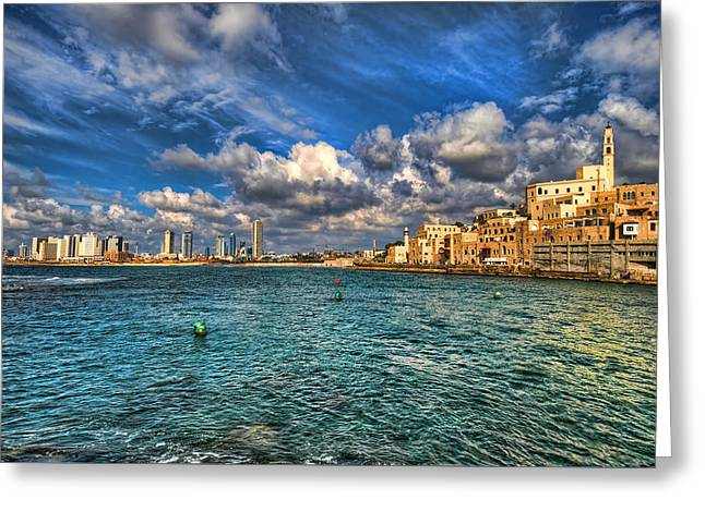Greeting Card featuring the photograph Tel Aviv Jaffa Shoreline by Ron Shoshani