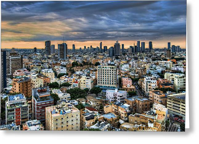 Greeting Card featuring the photograph Tel Aviv Skyline Winter Time by Ron Shoshani