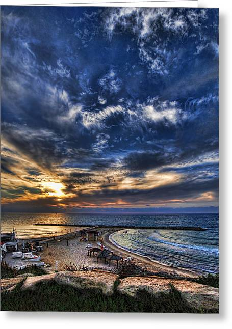 Tel Aviv Sunset At Hilton Beach Greeting Card