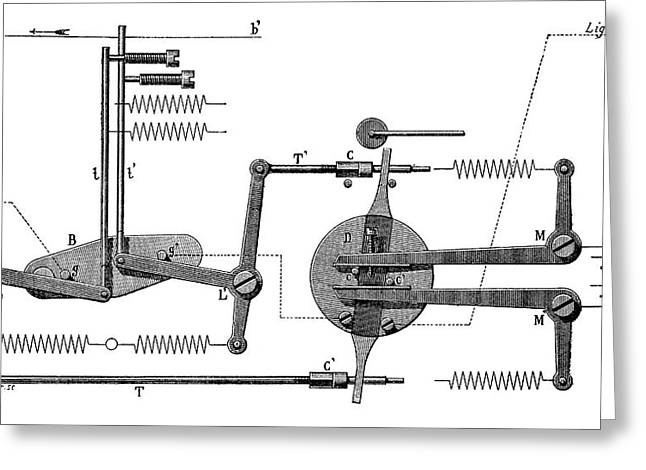 Telegraph Tape Transmitter Greeting Card by Science Photo Library