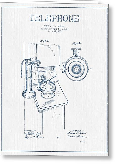 Telephone Patent Drawing From 1898  - Blue Ink Greeting Card by Aged Pixel