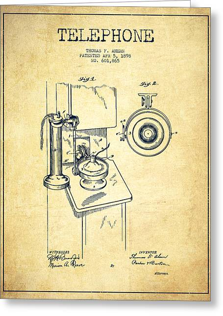 Telephone Patent Drawing From 1898 - Vintage Greeting Card by Aged Pixel