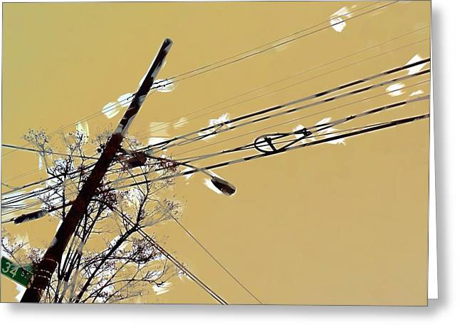Telephone Pole With Light Greeting Card by H James Hoff