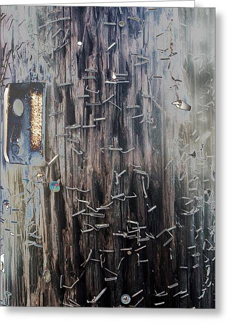 Telephone Pole With Scars From The Past Greeting Card