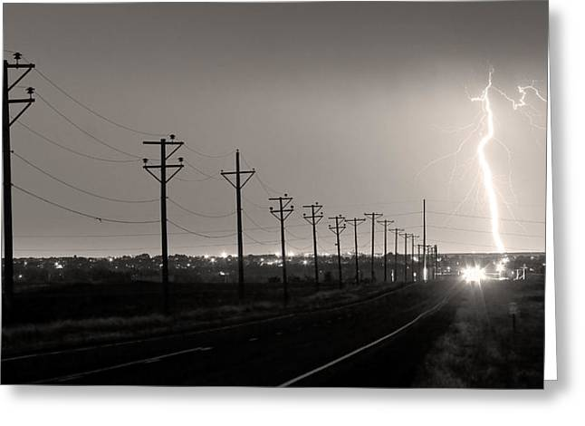 Telephone Poles Black And White Sepia Greeting Card by James BO  Insogna