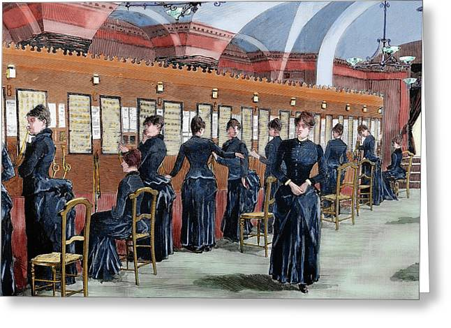 Telephone Service In Madrid Greeting Card by Prisma Archivo