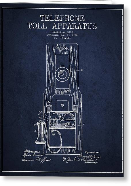 Telephone Toll Apparatus Patent Drawing From 1904 - Navy Blue Greeting Card by Aged Pixel