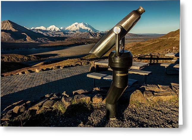 Telescope And Mount Denali In Distance Greeting Card