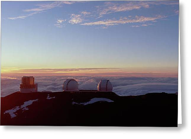 Telescopes On Mauna Kea At Sunset Greeting Card by Panoramic Images