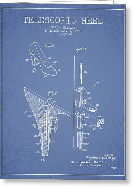Telescopic Heel Patent From 1960 - Light Blue Greeting Card