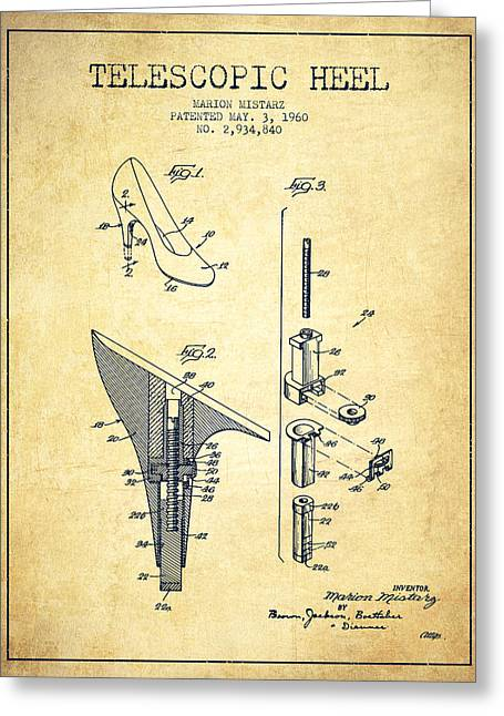 Telescopic Heel Patent From 1960 - Vintage Greeting Card by Aged Pixel