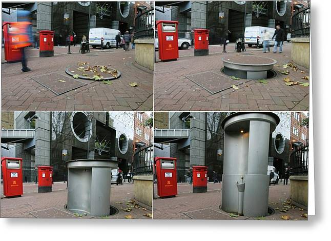 Telescopic Street Toilet Greeting Card by Thierry Berrod, Mona Lisa Production