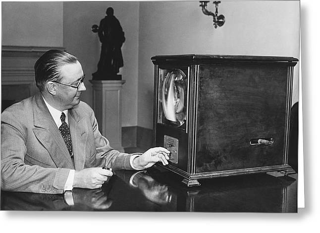 Television In The White House Greeting Card by Underwood Archives
