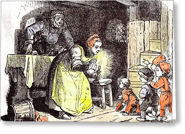 Telling A Fairy Tale Children 1855 Children Story Greeting Card by English School