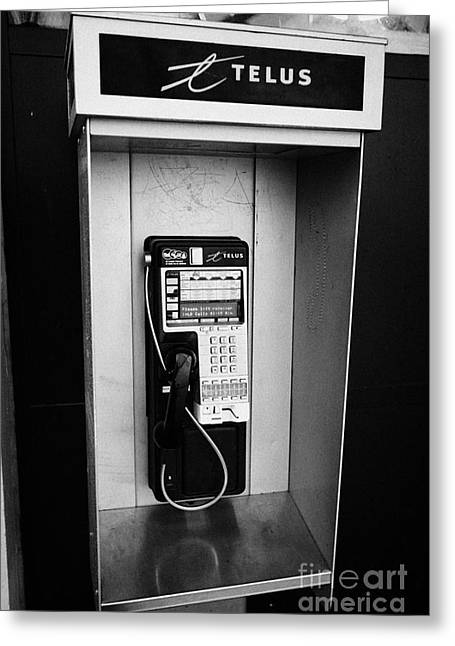telus public payphone Vancouver BC Canada Greeting Card