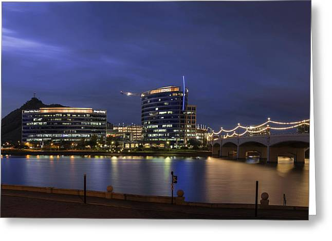 Tempe Town Lake Blue Pano Greeting Card by Dave Dilli