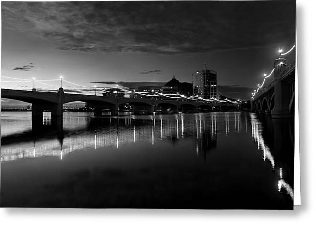 Tempe Town Lake In Black And White Greeting Card