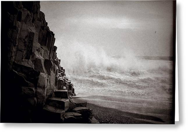 Raging Sea Greeting Card by Dave Bowman