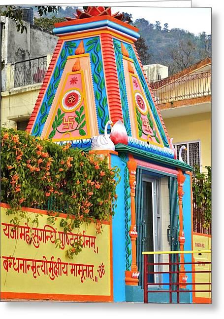 Colorful Temple - Rishikesh India Greeting Card by Kim Bemis