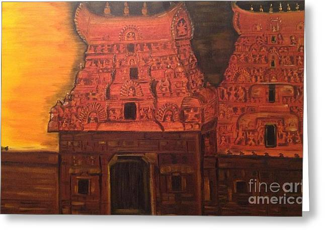 Greeting Card featuring the painting Temple At Dawn 2 by Brindha Naveen