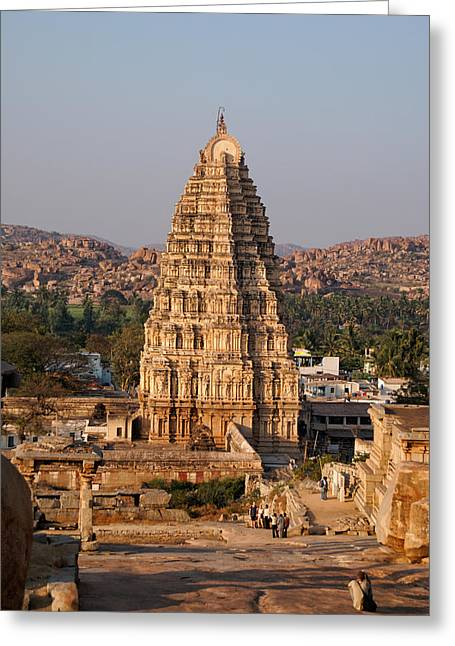 Temple At Hampi Greeting Card by Carol Ailles