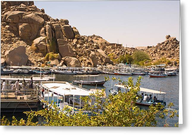 Temple Boat Dock Greeting Card