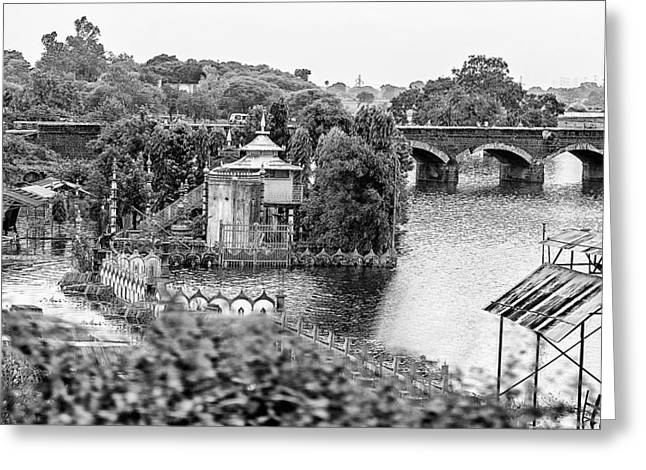 Temple By The River Greeting Card by John Hoey