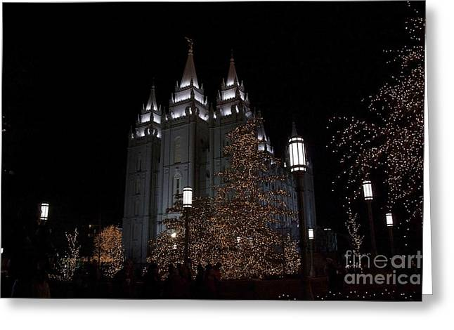 Temple Christmas Lights Greeting Card by Nicole Markmann Nelson
