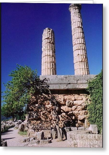 Temple Columns At Delphi Greeting Card