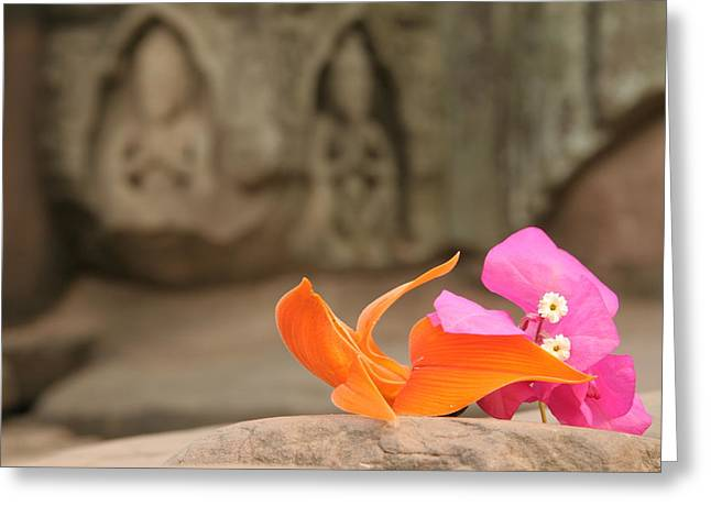 Temple Flowers Greeting Card by KandE Inc