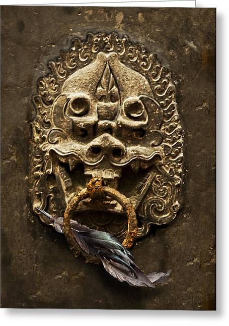 Temple Guardian With Feather Greeting Card by Larry Butterworth