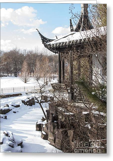 Temple In Snow Greeting Card
