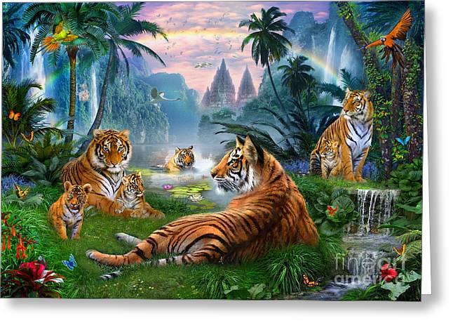 Temple Lake Tigers Greeting Card by Jan Patrik Krasny