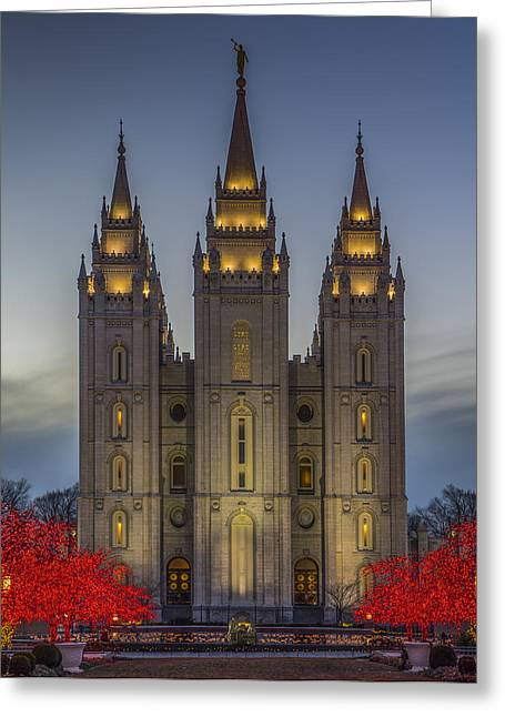 Temple Lights Greeting Card by Peter Irwindale
