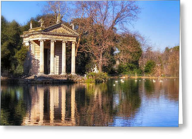 Temple Of Aesculapius In Villa Borghese - Rome Greeting Card