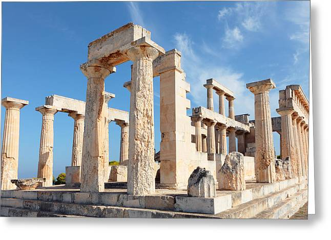 Temple Of Aphaia Columns Greeting Card by Paul Cowan