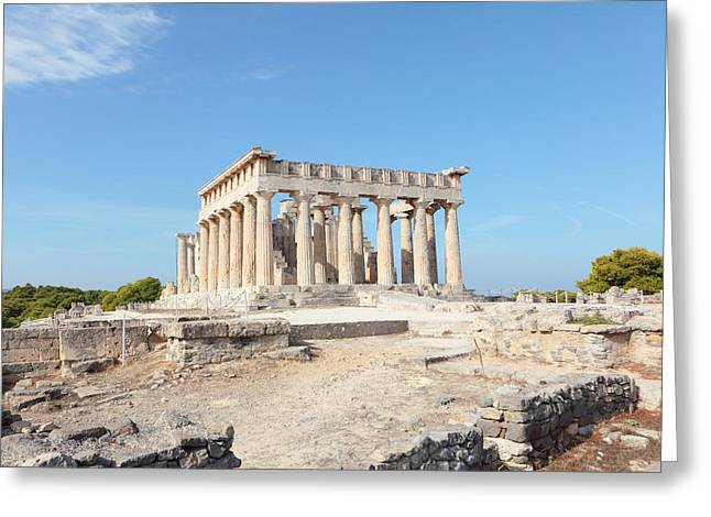 Temple Of Aphaia In Aegina Greeting Card by Paul Cowan