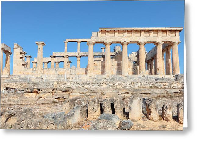 Temple Of Aphaia Side View Greeting Card by Paul Cowan