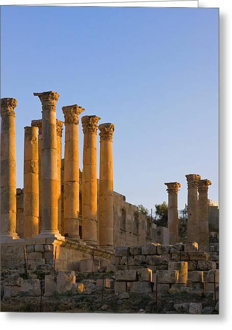 Temple Of Artemis, Ancient Jerash Greeting Card by Keren Su