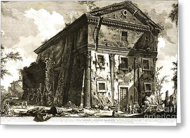 Temple Of Bacchus Rome 1746 Greeting Card by Padre Art