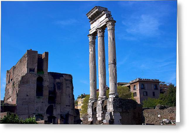 Temple Of Castor Greeting Card by Walt  Baker