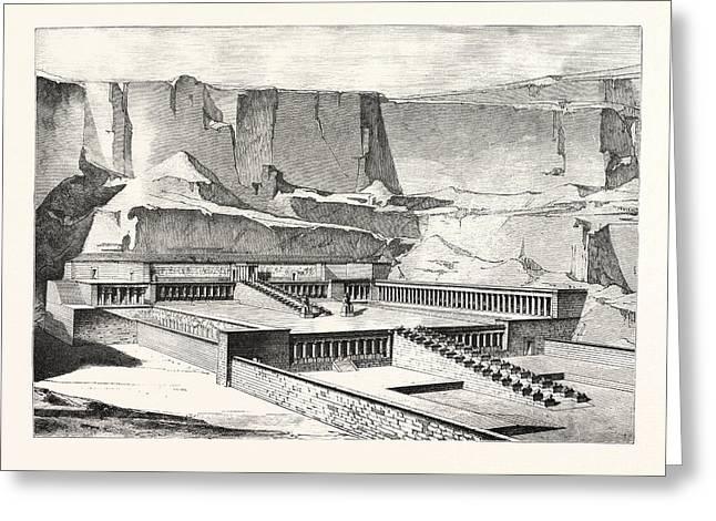 Temple Of Deyr-el-bahree, Imaginary Restoration Greeting Card