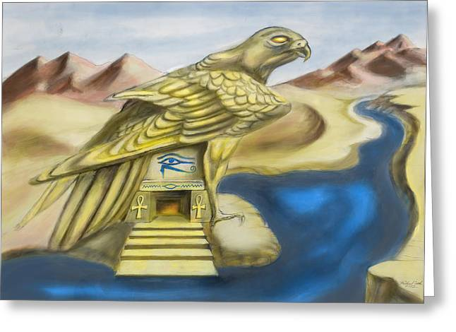 Temple Of Horus One Of Three Greeting Card by Michael Cook