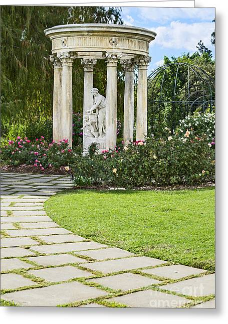 Temple Of Love Statue At The Rose Garden Of The Huntington. Greeting Card by Jamie Pham