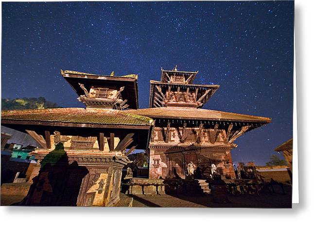 Temple Of Panauti Greeting Card by Babak Tafreshi/science Photo Library