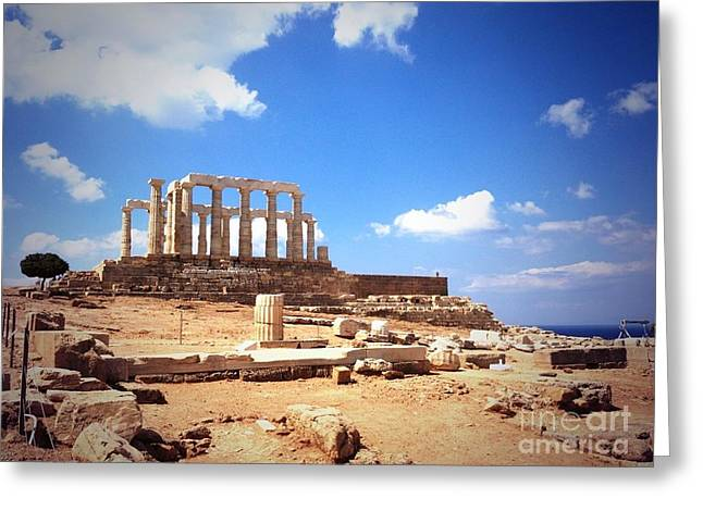 Temple Of Poseidon Vignette Greeting Card