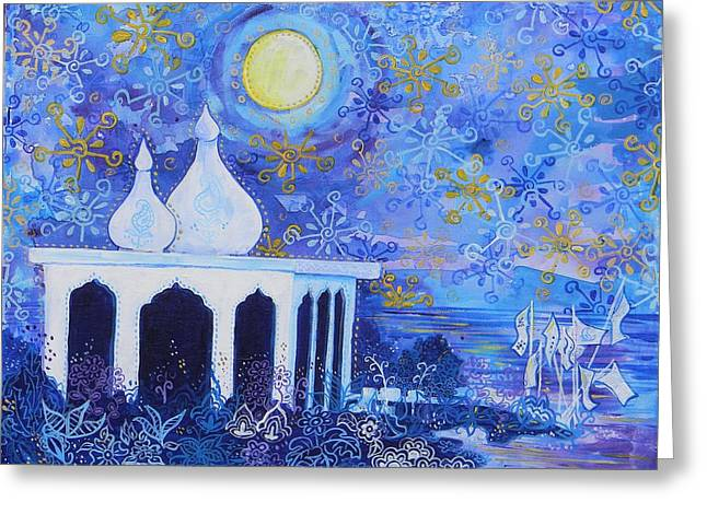 Temple On The Sea 2 Greeting Card by Samantha Rochard